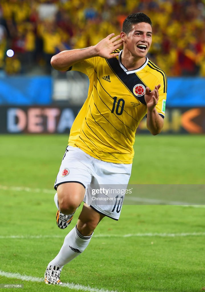 <a gi-track='captionPersonalityLinkClicked' href=/galleries/search?phrase=James+Rodriguez&family=editorial&specificpeople=4422074 ng-click='$event.stopPropagation()'>James Rodriguez</a> of Colombia celebrates scoring his team's fourth goal during the 2014 FIFA World Cup Brazil Group C match between Japan and Colombia at Arena Pantanal on June 24, 2014 in Cuiaba, Brazil.