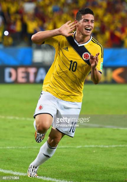 James Rodriguez of Colombia celebrates scoring his team's fourth goal during the 2014 FIFA World Cup Brazil Group C match between Japan and Colombia...