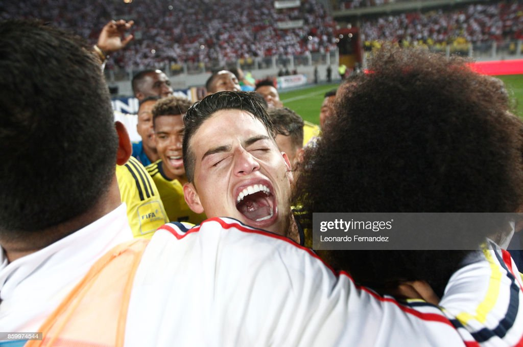 James Rodriguez of Colombia celebrates the qualifying to the World Cup Russia 2018 after a match between Peru and Colombia as part of FIFA 2018 World Cup Qualifiers at National Stadium on October 10, 2017 in Lima, Peru.