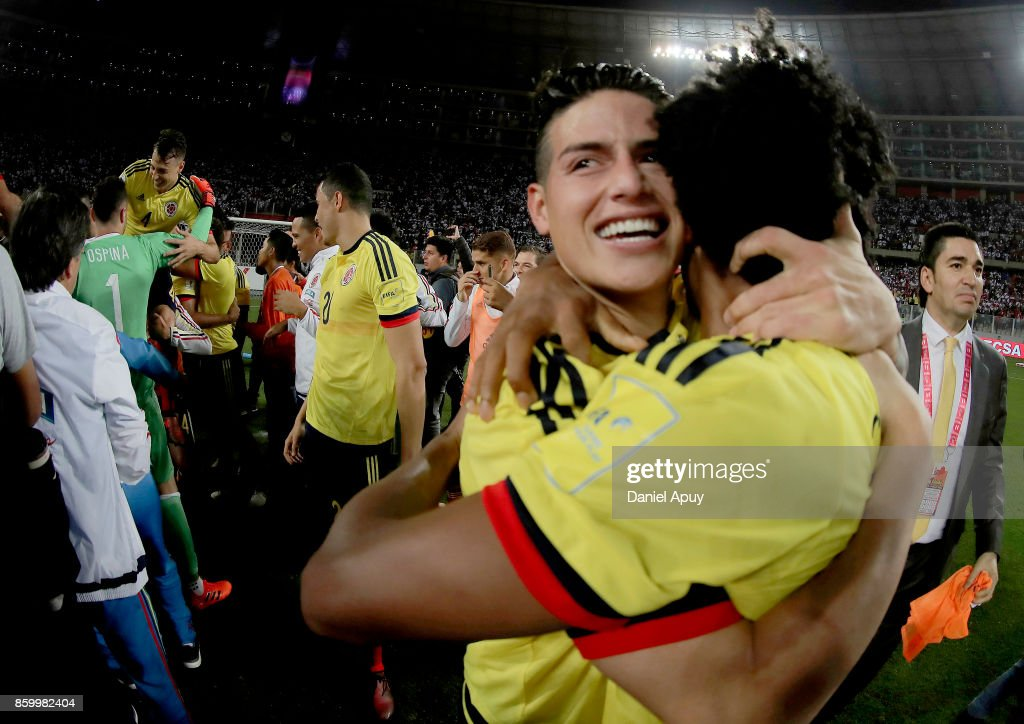 James Rodriguez of Colombia celebrates the qualifying to the World Cup Russia 2018 after a match between Peru and Colombia as part of FIFA 2018 World Cup Qualifiers at Monumental Stadium on October 10, 2017 in Lima, Peru.
