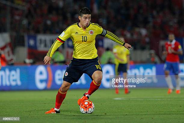 James Rodriguez of Colombia controls the ball during a match between Chile and Colombia as part of FIFA 2018 World Cup Qualifiers at Nacional Stadium...