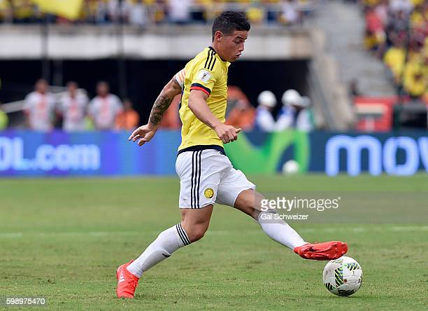 James Rodriguez of Colombia drives the ball during a match between Colombia and Venezuela as part of FIFA 2018 World Cup Qualifiers at Roberto...