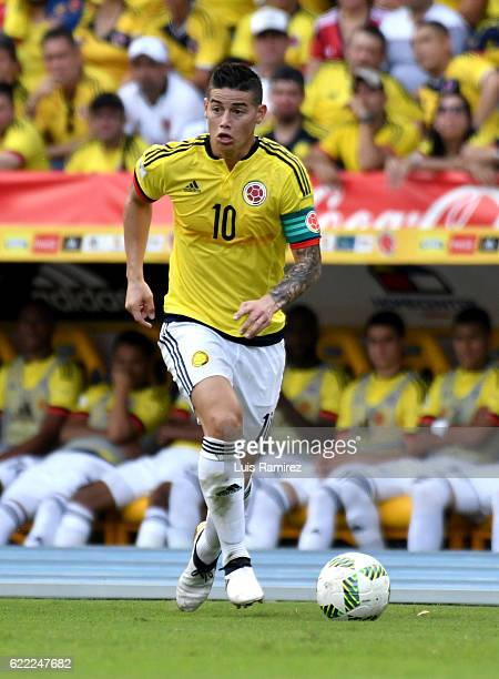 James Rodriguez of Colombia drives the ball during a match between Colombia and Chile as part of FIFA 2018 World Cup Qualifiers at Metropolitano...