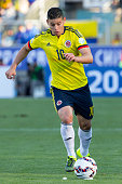 James Rodriguez of Colombia drives the ball during the 2015 Copa America Chile Group C match between Colombia and Venezuela at El Teniente Stadium on...