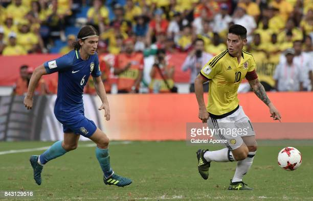 James Rodriguez of Colombia drives the ball the ball during a match between Colombia and Brazil as part of FIFA 2018 World Cup Qualifiers at...