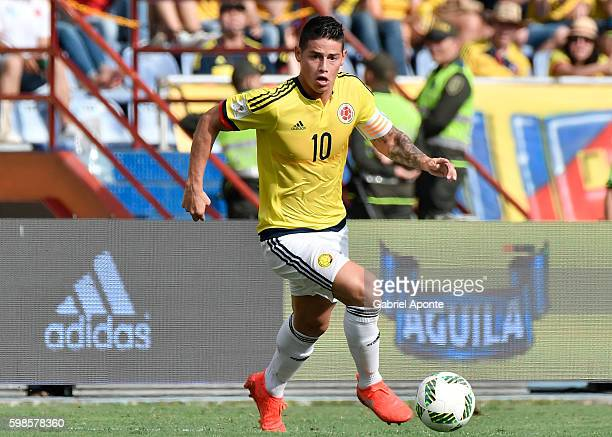 James Rodriguez of Colombia in action during a match between Colombia and Venezuela as part of FIFA 2018 World Cup Qualifiers at Roberto Melendez...