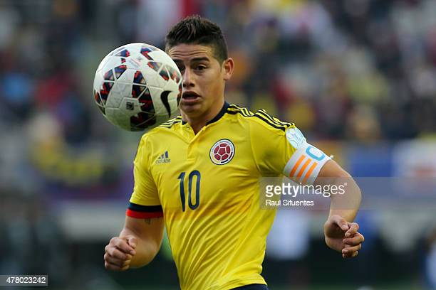 James Rodriguez of Colombia in action during the 2015 Copa America Chile Group C match between Colombia and Peru at Municipal Bicentenario Germán...