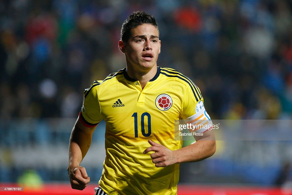 James Rodriguez of Colombia in action during the 2015 Copa America Chile quarter final match between Argentina and Colombia at Sausalito Stadium on...