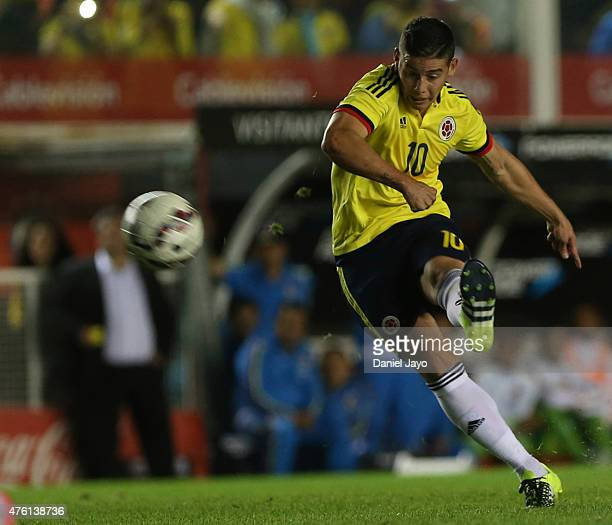 James Rodriguez of Colombia kicks the ball during a friendly match between Colombia and Costa Rica at Diego Armando Maradona Stadium on June 06 2015...