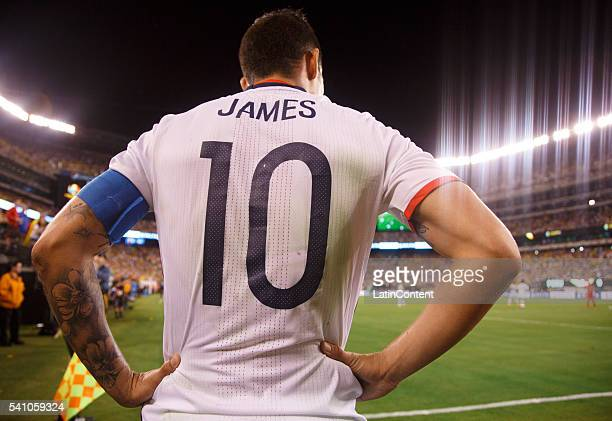 James Rodriguez of Colombia looks on before his corner kick during a Quarterfinal match between Colombia and Peru at MetLife Stadium as part of Copa...