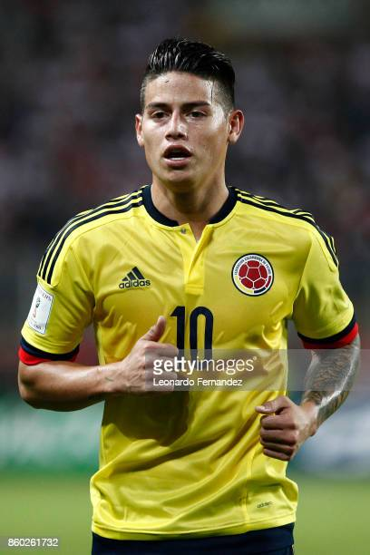 James Rodriguez of Colombia looks on during match between Peru and Colombia as part of FIFA 2018 World Cup Qualifiers at National Stadium on October...