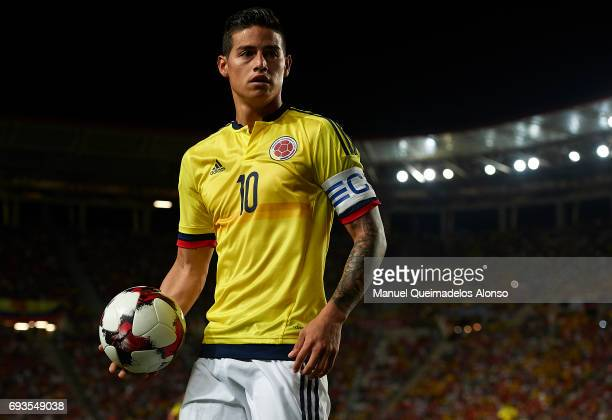 James Rodriguez of Colombia looks on during the international friendly match between Spain and Colombia at Nueva Condomina Stadium on June 7 2017 in...