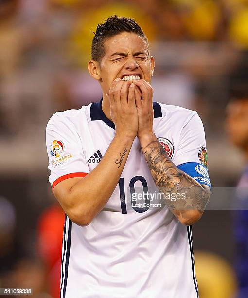 James Rodriguez of Colombia reacts after missing a chance to score in the first half against Peru during a Quarterfinal match at MetLife Stadium as...