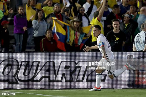 James Rodriguez of Colombia reacts after scoring a goal during the first half of a 2016 Copa America Centenario Group A match between Columbia and...
