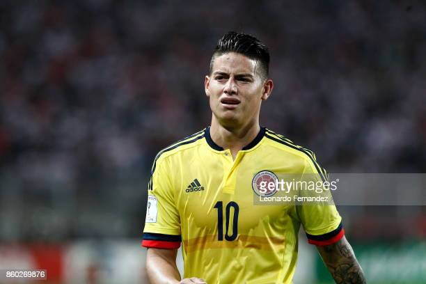 James Rodriguez of Colombia reacts during match between Peru and Colombia as part of FIFA 2018 World Cup Qualifiers at National Stadium on October 10...