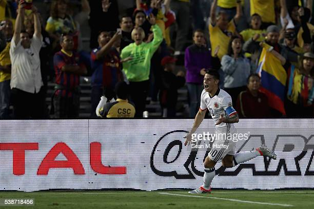 James Rodriguez of Colombia reacts to scoring a goal during the first half of a 2016 Copa America Centenario Group A match between Columbia and...