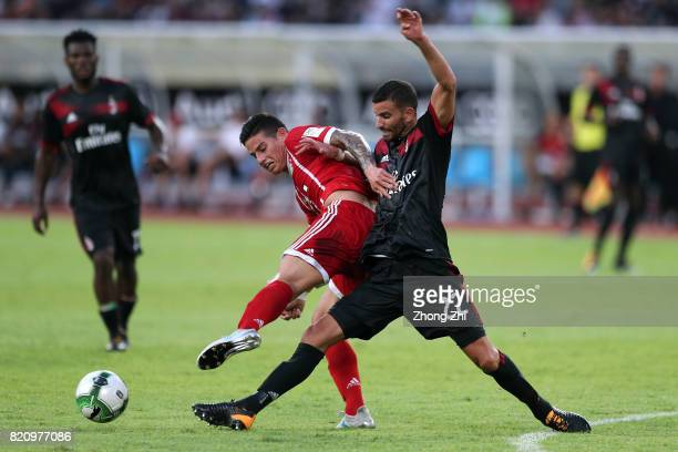 James Rodriguez of FC Bayern Muenchen in action against Mateo Musacchio of AC Milan during the 2017 International Champions Cup football match...