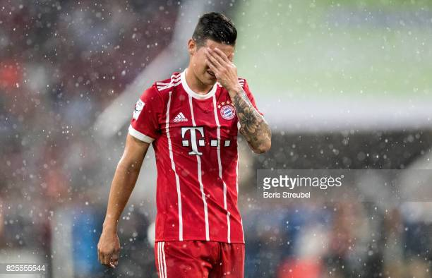 James Rodriguez of FC Bayern Muenchen looks dejected during the Audi Cup 2017 match between Bayern Muenchen and Liverpool FC at Allianz Arena on...