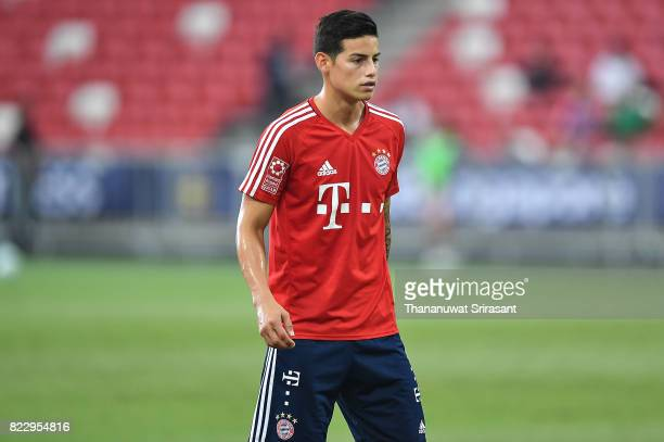 James Rodriguez of FC Bayern Muenchen looks during a training session of International Champions Cup training session at National Stadium on July 26...