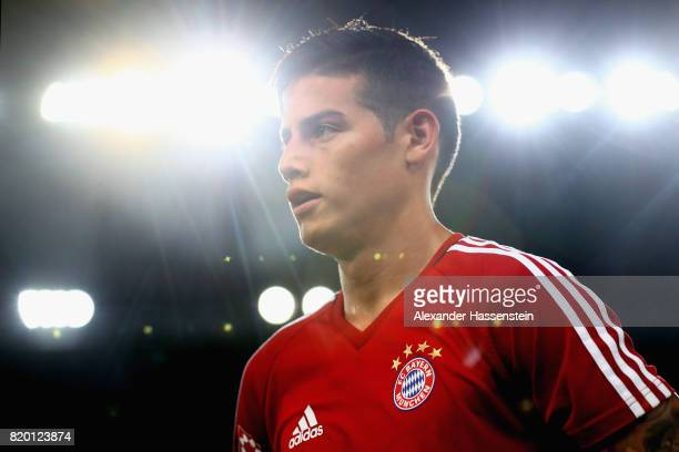 James Rodriguez of FC Bayern Muenchen looks on during a training session at Shenzhen Universiade Sports Centre during the Audi Summer Tour 2017 on...
