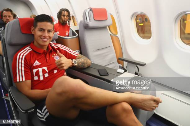 James Rodriguez of FC Bayern Muenchen on board on the team flight to Shanghai for the FC Bayern Muenchen PreSeason Tour on July 16 2017 in Munich...
