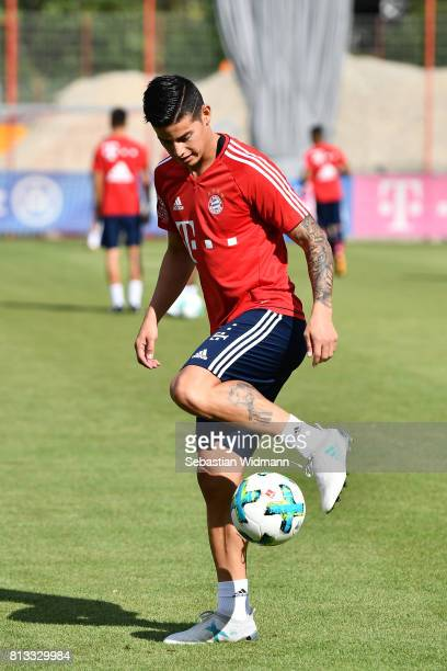 James Rodriguez of FC Bayern Muenchen plays with a ball during a training session at Saebener Strasse training ground on July 12 2017 in Munich...