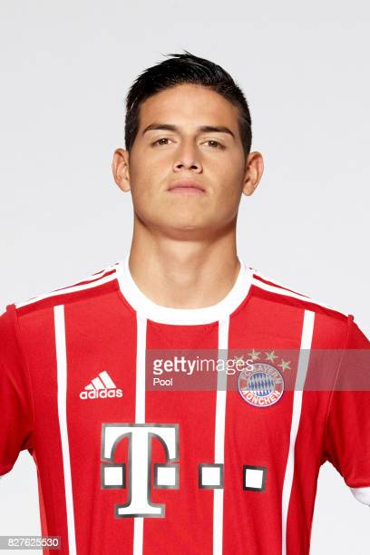 James Rodriguez of FC Bayern Muenchen poses during the team presentation at Allianz Arena on August 8 2017 in Munich Germany