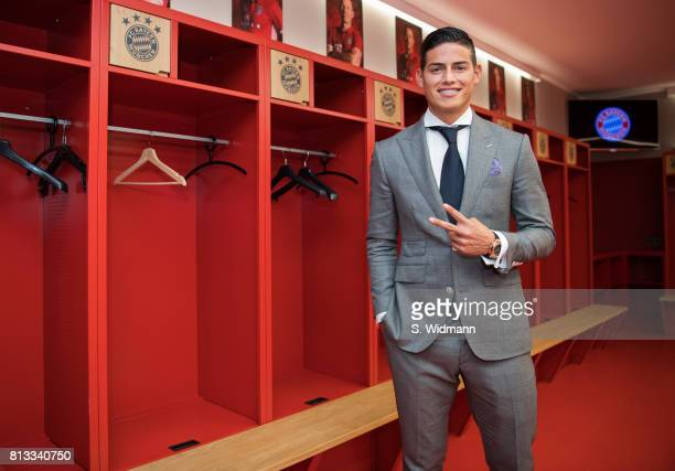 James Rodriguez of FC Bayern Muenchen poses for a picture in the dressing room of the Allianz Arena on July 12 2017 in Munich Germany