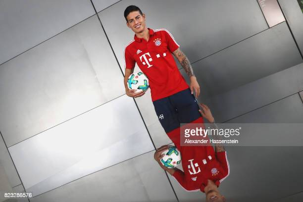 James Rodriguez of FC Bayern Muenchen poses for a portrait at JW Marriott Singapore South Beach Hotel during the Audi Summer Tour 2017 on July 26...