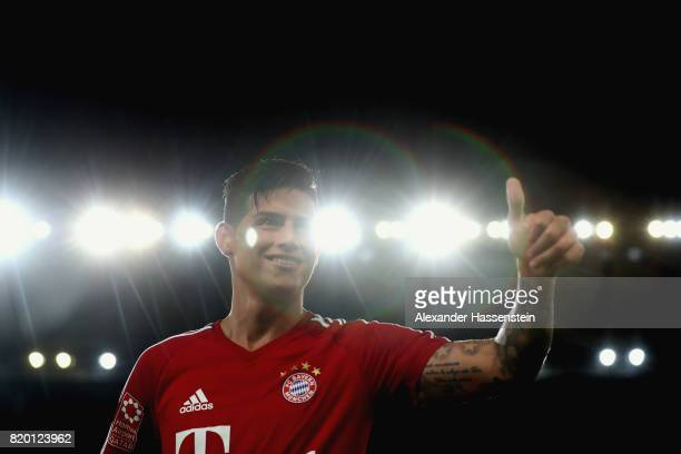 James Rodriguez of FC Bayern Muenchen reacts during a training session at Shenzhen Universiade Sports Centre during the Audi Summer Tour 2017 on July...