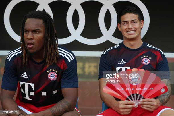 James Rodriguez of FC Bayern Muenchen reacts with Renato Sanches of FC Bayern during the 2017 International Champions Cup football match between AC...
