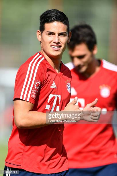 James Rodriguez of FC Bayern Muenchen runs during a training session at Saebener Strasse training ground on July 12 2017 in Munich Germany
