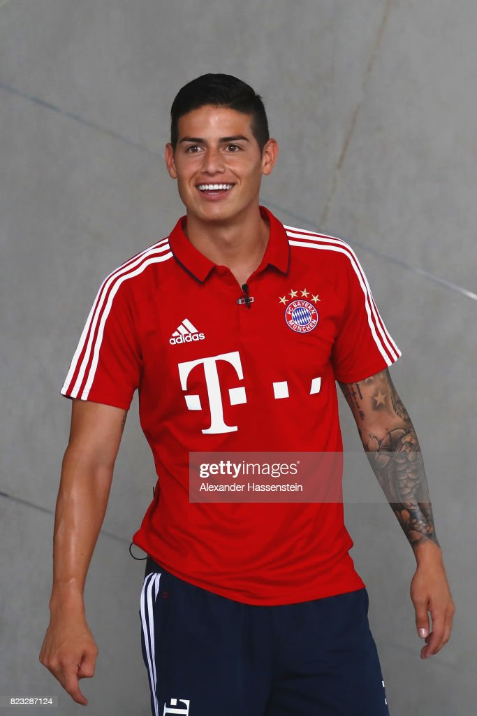 James Rodriguez of FC Bayern Muenchen smiles after performing football skills at JW Marriott Singapore South Beach Hotel during the Audi Summer Tour 2017 on July 26, 2017 in Singapore.