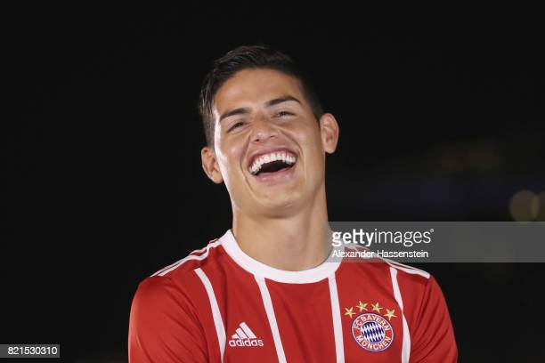 James Rodriguez of FC Bayern Muenchen smiles during a adidas marketing event at Clifford square during the Audi Summer Tour 2017 on July 24 2017 in...