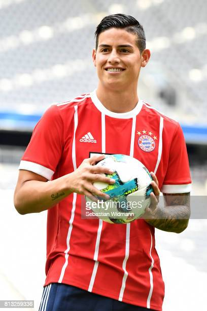 James Rodriguez of FC Bayern Muenchen smiles on the pitch of the Allianz Arena on July 12 2017 in Munich Germany
