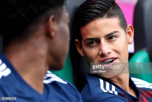 James Rodriguez of Muenchen is seen on the bench during the Telekom Cup 2017 match between Bayern Muenchen and 1899 Hoffenheim at on July 15 2017 in...