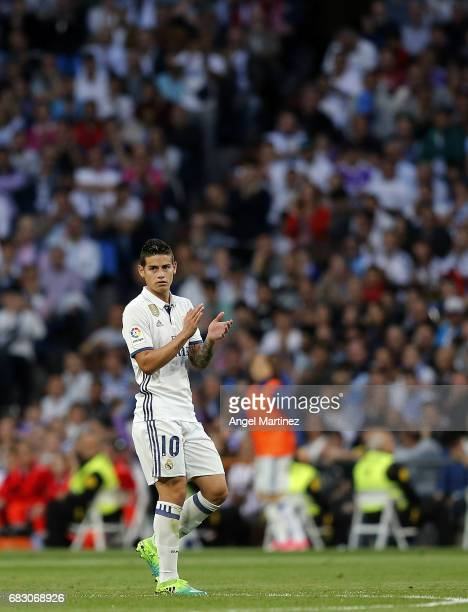 James Rodriguez of Real Madrid applauds to the fans during the La Liga match between Real Madrid and Sevilla FC at Estadio Santiago Bernabeu on May...