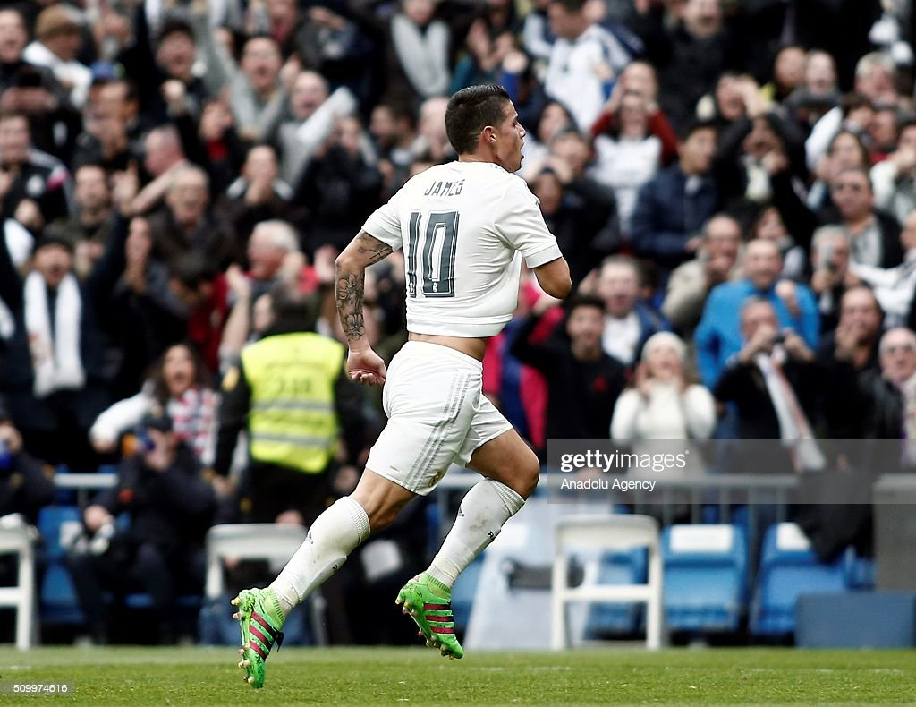 James Rodriguez of Real Madrid celebrates after scoring a goal during La Liga Football match between Real Madrid and Athletic Bilbao at Santiago Bernabeu Stadium in Madrid, Spain on February 13, 2016.