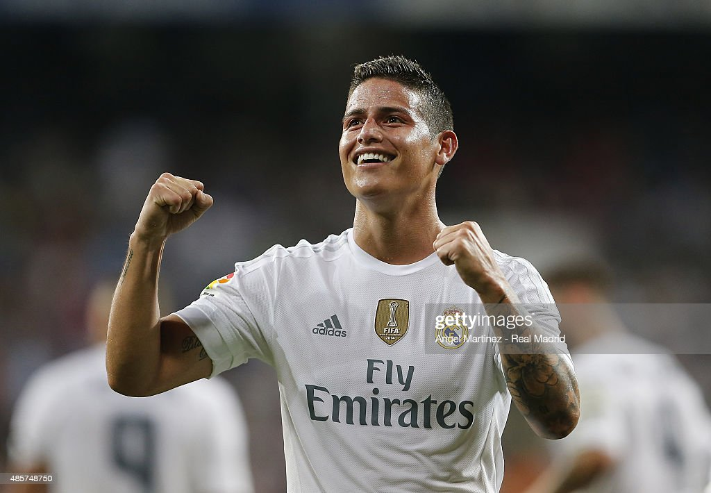 <a gi-track='captionPersonalityLinkClicked' href=/galleries/search?phrase=James+Rodriguez&family=editorial&specificpeople=4422074 ng-click='$event.stopPropagation()'>James Rodriguez</a> of Real Madrid celebrates after scoring his team's second goal during the La Liga match between Real Madrid CF and Real Betis Balompie at Estadio Santiago Bernabeu on August 29, 2015 in Madrid, Spain.