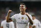 James Rodriguez of Real Madrid celebrates after scoring his team's second goal during the La Liga match between Real Madrid CF and Real Betis...