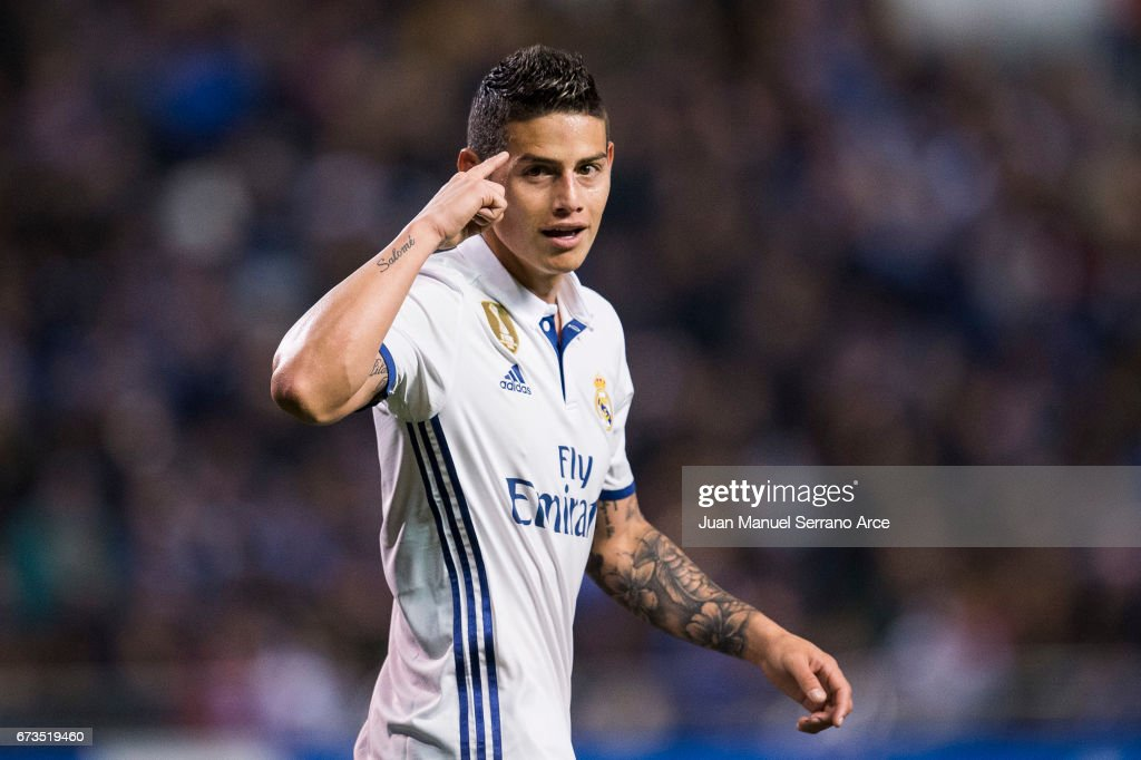 James Rodriguez of Real Madrid celebrates after scoring his team's fourth goal during the La Liga match between RC Deportivo La Coruna and Real Madrid at Riazor Stadium on April 26, 2017 in La Coruna, Spain.