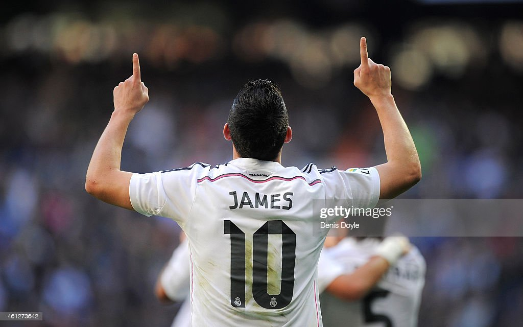 <a gi-track='captionPersonalityLinkClicked' href=/galleries/search?phrase=James+Rodriguez&family=editorial&specificpeople=4422074 ng-click='$event.stopPropagation()'>James Rodriguez</a> of Real Madrid celebrates after scoring Real's opening goal during the La Liga match between Real Madrid CF and RCD Espanyol at Estadio Santiago Bernabeu on January 10, 2015 in Madrid, Spain.