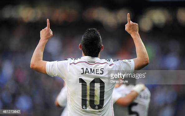 James Rodriguez of Real Madrid celebrates after scoring Real's opening goal during the La Liga match between Real Madrid CF and RCD Espanyol at...