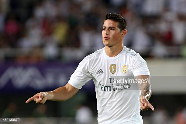 James Rodriguez of Real Madrid celebrates his goal during the International Champions Cup China 2015 match between Real Madrid and FC Internazionale...