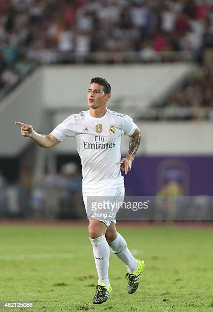 James Rodriguez of Real Madrid celebrates his goal during the match of International Champions Cup match between Real Madrid and FC Internazionale at...