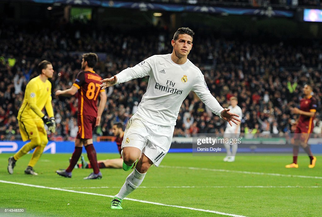 <a gi-track='captionPersonalityLinkClicked' href=/galleries/search?phrase=James+Rodriguez&family=editorial&specificpeople=4422074 ng-click='$event.stopPropagation()'>James Rodriguez</a> of Real Madrid celebrates scoring his team's second goal during the UEFA Champions League Round of 16 Second Leg match between Real Madrid and Roma at Estadio Santiago Bernabeu on March 8, 2016 in Madrid, Spain.