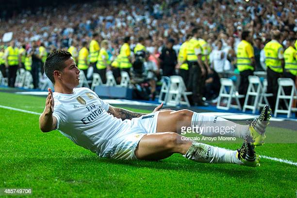 James Rodriguez of Real Madrid CF celebrates scoring their fourth goal during the La Liga match between Real Madrid CF and Real Betis Balompie at...