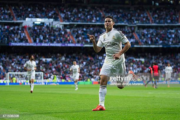 James Rodriguez of Real Madrid CF celebrates scoring their opening goal during the La Liga match between Real Madrid CF and UD Almeria at Estadio...