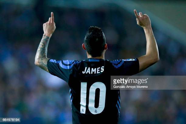 James Rodriguez of Real Madrid CF celebrates scoring their opening goal during the La Liga match between CD Leganes and Real Madrid CF at Estadio...