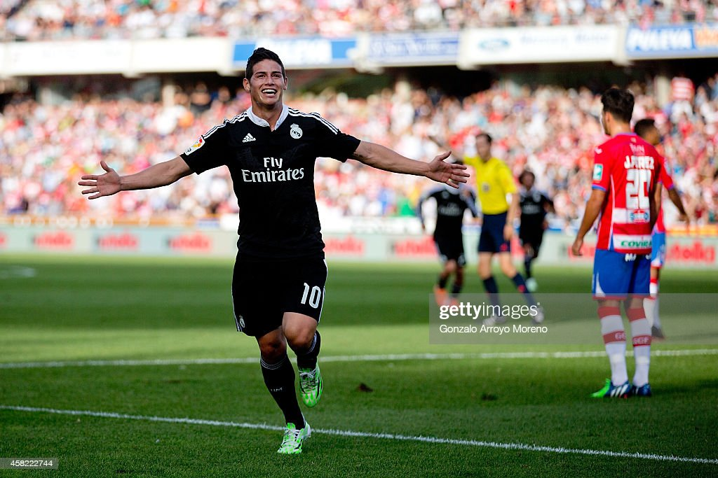 <a gi-track='captionPersonalityLinkClicked' href=/galleries/search?phrase=James+Rodriguez&family=editorial&specificpeople=4422074 ng-click='$event.stopPropagation()'>James Rodriguez</a> of Real Madrid CF celebrates scoring their second goal during the La Liga match between Granada CF and Real Madrid CF at Nuevo Estadio de Los Carmenes on November 1, 2014 in Granada, Spain.